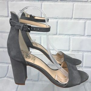 Vince Camuto Gray Suede Ankle Strap Block Heels